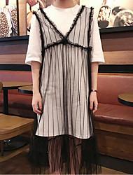 Manches Ajustées Robes Costumes Femme Printemps Eté Col Arrondi Micro-élastique