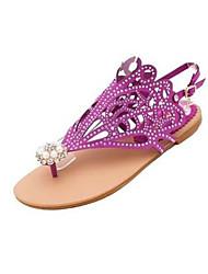 Women's Sandals Comfort PU Glitter Spring Casual Comfort Green Purple Black Flat