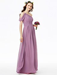 2017 LAN TING BRIDE Floor-length One Shoulder Bridesmaid Dress - Elegant Sleeveless Chiffon
