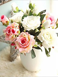 5 Heads and 10 Buds Silk Roses Tabletop Flower Artificial Flowers
