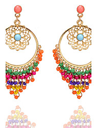 Bohemia Fashion Vintage Elegant Charm Hollow Carved Flower Earrings Colorful Beads Tassel Drop Earrings For Women Jewelry Accessories Gift
