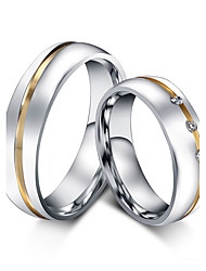 2pcs Couple Rings Cubic Zirconia Vintage Simple  Rose Gold Titanium Steel Ring Jewelry For Wedding Party Birthday Engagement Gift Daily