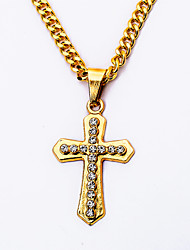 24K Gold Plated Men's Rhinestones Cross Pendant Necklaces