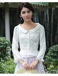 Damen Solide Chinoiserie Alltag T-shirt,V-Ausschnitt Langarm Andere