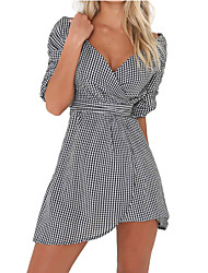 Women's Casual/Daily Work Sexy Simple Sheath Dress,Solid V Neck Asymmetrical Short Sleeve Polyester All Seasons Low Rise Micro-elastic