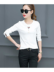 Damen Solide Einfach T-shirt,Rundhalsausschnitt ½ Länge Ärmel Baumwolle