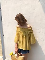 Damen Solide Einfach Street Schick Lässig/Alltäglich T-shirt,Bateau 3/4 Ärmel Baumwolle