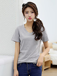 Damen Solide Retro Ausgehen T-shirt,V-Ausschnitt Kurzarm Baumwolle