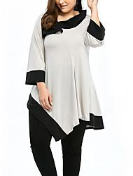 Damen Einfarbig Einfach Street Schick Ausgehen Lässig/Alltäglich Übergröße T-shirt,Hemdkragen Frühling Herbst ¾-Arm Polyester Mittel