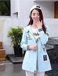 Women's Casual/Daily Cute Spring Coat,Solid Shirt Collar Long Sleeve Long Cotton