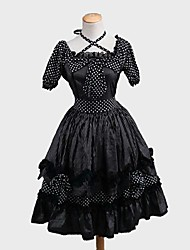 Uma-Peça/Vestidos Punk Rococo Cosplay Vestidos Lolita Riscas Poás Manga Curta Longuete Vestido Para Tecido Alcochoado