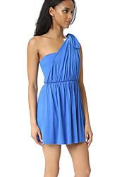 Trapèze Robe Femme SortieCouleur Pleine Une Epaule Au dessus du genou Sans Manches Polyester Eté Taille Normale Micro-élastique Moyen