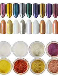 12bottles/set 0.2g/bottle Nail DIY Beauty Magic Mirror Effect Glitter Powder Gorgeous Decoration Nail Art Glitter Pigment