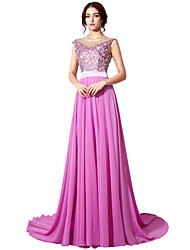Ball Gown Jewel Neck Court Train Chiffon Formal Evening Dress with Appliques Sash / Ribbon