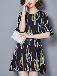 Women's Casual/Daily Loose Dress,Print Round Neck Above Knee Short Sleeve Polyester Summer Mid Rise Inelastic Medium