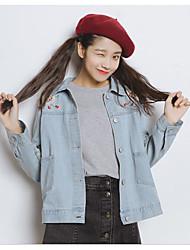 Feminino Jaqueta jeans Diário Primavera,Bordado Padrão Algodão Colarinho Chinês Manga Longa