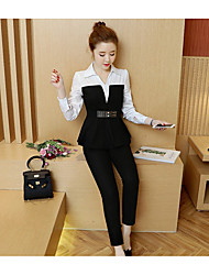 Women's Dailywear Magnetic Cat Eye Fall T-shirt Pant Suits,Solid Round Neck Long Sleeve