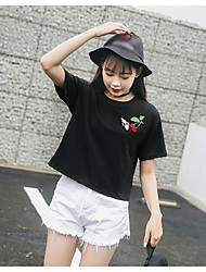 Damen Stickerei Niedlich Ausgehen T-shirt,Rundhalsausschnitt Sommer Kurzarm Polyester