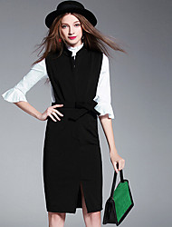 Women's Office/Career Business Other Modern/Comtemporary Work Office/Business Others Fall Shirt Dress Suits,Solid Shirt Collar Long Sleeve