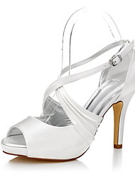 Women's Heels Club Shoes Comfort Dyeable Shoes Silk Summer Fall Wedding Outdoor Office & Career Party & Evening Dress Buckle Stiletto Heel
