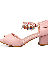 Women's Sandals Club Shoes Comfort Ankle Strap Leather Summer Outdoor Dress Casual Beading Chain Chunky HeelRoyal Blue Blushing Pink