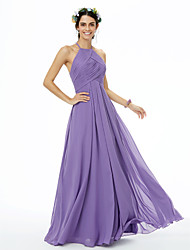 A-Line Jewel Neck Floor Length Chiffon Bridesmaid Dress with Criss Cross Pleats by LAN TING BRIDE®