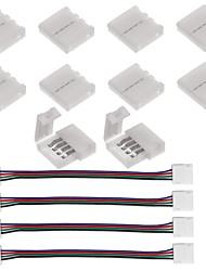 10pcs 4 pinos led strip connector para 5050 rgb led strip lights e 4pcs led 5050 rgb strip light connector 4 condutores 10 mm wide strip