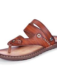 Men's Slippers & Flip-Flops Toe Ring Light Soles Leatherette Spring Summer Casual Flat Heel Khaki Blue Brown Flat