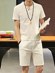 New Arrival 7 Colors Plus Size M-5XL Men's Casual Sports Summer T-shirt Solid Standing Short Sleeve Cotton Linen t shirt Hot Sale