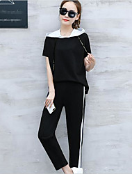 Women's Casual/Daily Sports Simple Active Summer T-shirt Pant Suits,Solid Round Neck Short Sleeve