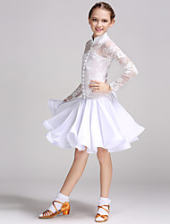 Latin Dance Dresses Children's Performance Spandex Lace Bow(s) Buttons 1 Piece Long Sleeve Natural Dress