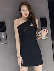 Gaine Robe FemmeCouleur Pleine Une Epaule Au dessus du genou Sans Manches Coton Printemps Taille Haute Micro-élastique Moyen