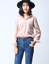 Feminino Camisa Social SimplesBordado Poliéster Colarinho de Camisa Manga Longa