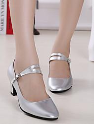 Customizable Women's Latin Leather Heels Beginner Low Heel Fuchsia Silver Black Gold