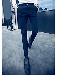 Homme Street Chic Taille Normale Micro-élastique Costume / Tailleur Pantalon,Droite Couleur Pleine