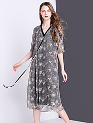 Women's Going out Casual/Daily Vintage A Line Dress,Jacquard V Neck Midi Short Sleeve Silk Summer Mid Rise Inelastic Thin