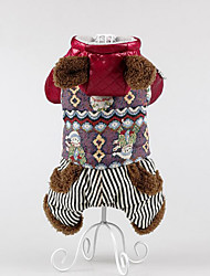 Dog Coat Dog Clothes Casual/Daily Keep Warm Stripe Black Green Ruby