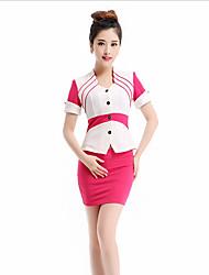 Для женщин Весна Лето Как у футболки Юбки Костюмы U-образный вырез С короткими рукавами Эластичность