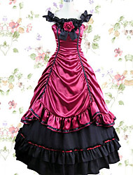 One-Piece/Dress Gothic Lolita Vintage Inspired Cosplay Lolita Dress Black Red Solid Color Floor-length Skirt Dress For Modal