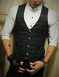 Men's Casual/Daily Work Simple Fall Vest,Houndstooth V Neck Sleeveless Regular Polyester