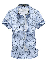 Men's Casual/Daily Simple Summer Shirt,Solid Print Stand Short Sleeves Cotton Thin