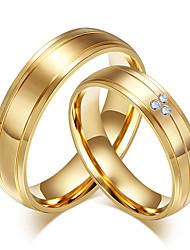 Casal Anéis Grossos Anel Zircônia cúbica Moda Vintage Estilo simples Zircônia Cubica Aço Titânio 18K ouro Forma Redonda Jóias Para