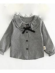 Girls' Stripe Shirt,100% Cotton Summer Long Sleeve Regular
