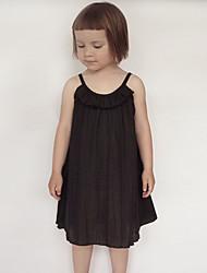 Vestido Chica de Color Sólido Algodón Verano Primavera