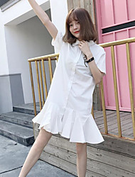 Women's Casual/Daily Vintage Loose Dress,Solid Shirt Collar Knee-length Short Sleeve Cotton Summer Mid Rise Micro-elastic Thin