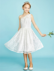 A-Line One Shoulder Knee Length Lace Junior Bridesmaid Dress with Pleats by LAN TING BRIDE®