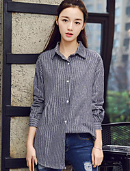 Women's Daily Simple Shirt,Striped Shirt Collar Long Sleeve Cotton