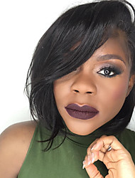 Mujer Pelucas de Cabello Natural Cabello humano Encaje Frontal Frontal sin Pegamento 130% Densidad Liso Peluca Negro Corto Medio Para