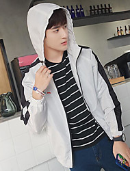 Men's Daily Modern/Comtemporary Spring Summer Jacket,Solid Hooded Long Sleeve Regular Others