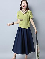 Damen Einfarbig Einfach Alltag T-shirt,V-Ausschnitt Kurzarm Baumwolle Leinen